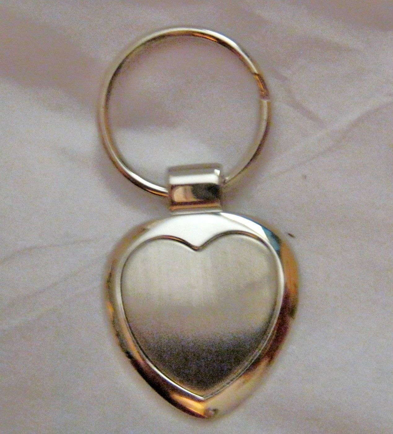 Primary image for Heart Silver tone metal engraveable key ring New