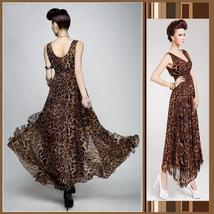 Sheer Layered Leopard Chiffon Prom Gown Empire Waist & V Neck Ruffled Hemline - $63.95