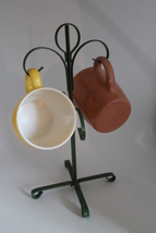Vintage Retro Coffee Cups with Vintage Metal Cup Holder Tree - $14.00