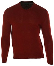 Club Room Heathered Solid Merino V-Neck Pullover Sweater, Cherry, Sz. XX... - £28.48 GBP