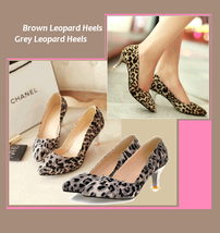Brown or Gray Leopard Print Pointed Toe Low Comfortable Kitten High Heel Pumps