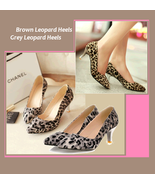 Brown or Gray Leopard Print Pointed Toe Low Comfortable Kitten High Heel... - $67.95