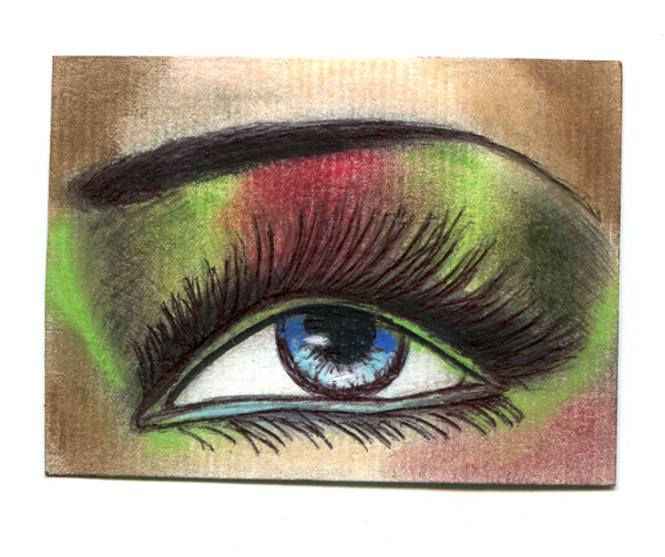 Aceo original eye art drawing womans blue eye shadow makeup miniature card