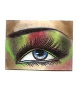 Aceo original eye art drawing womans blue eye shadow makeup miniature card  - $7.99