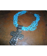 Large Cross on Turquoise beads necklace - $35.00