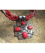 Red Eight Stand Necklace with ornate Pendant - $40.00