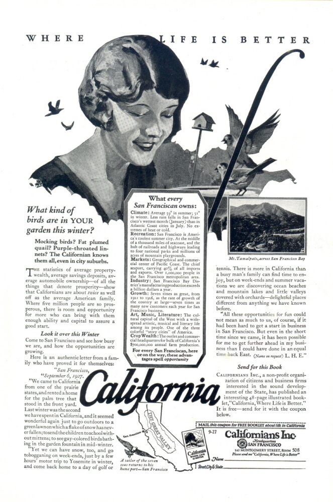 1927 California better life there artistic travel print ad