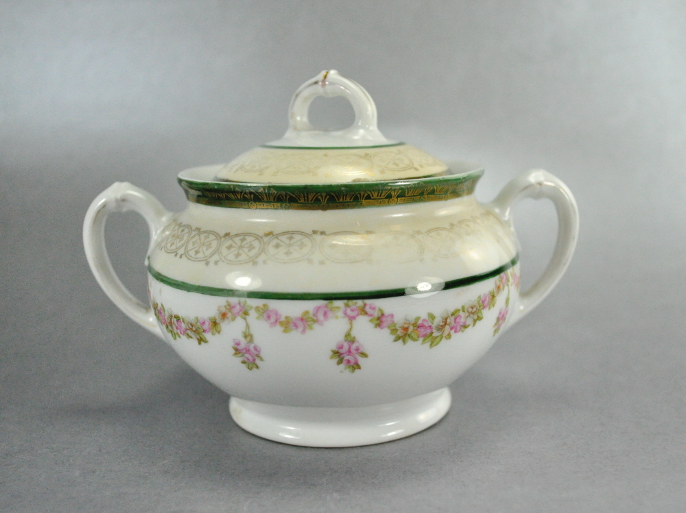 Antique Habsburg Austria pink flowers green gold trim sugar bowl