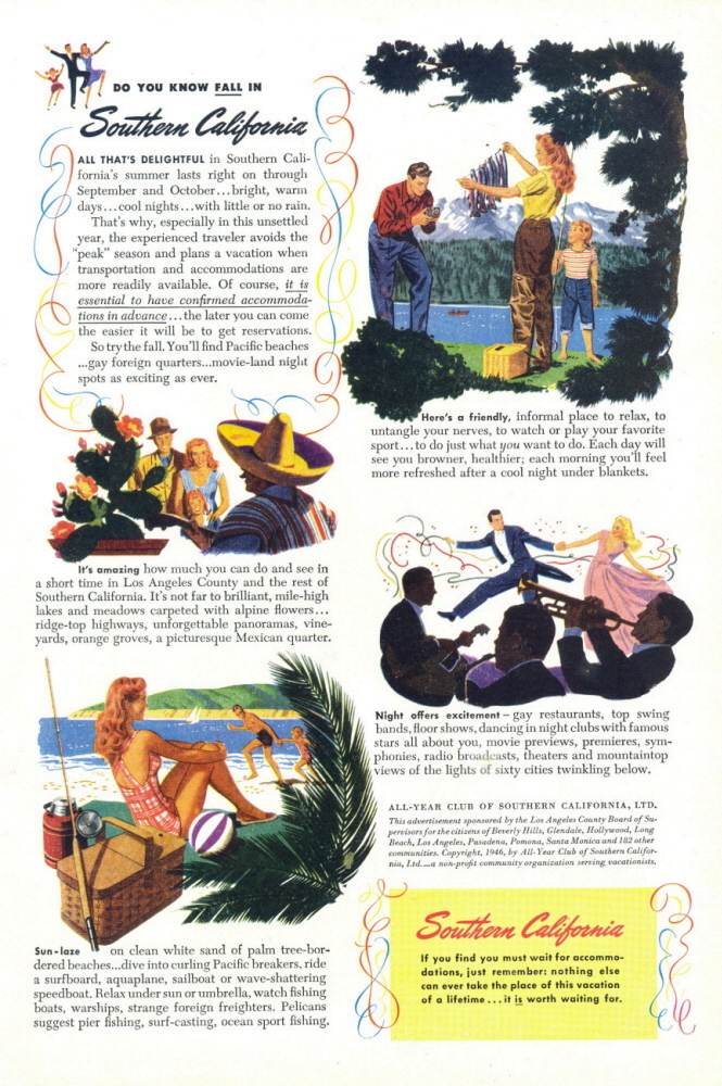1946 Southern California art work travel vacation print ad