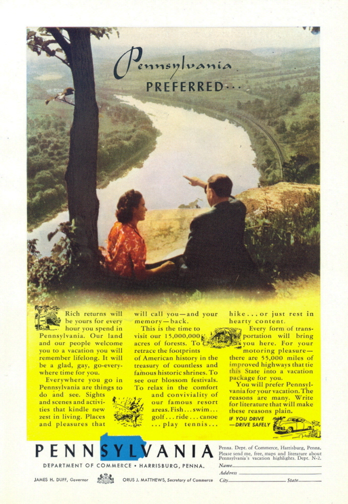 1947 Pennsylvania Travel Beautiful River Valley print ad