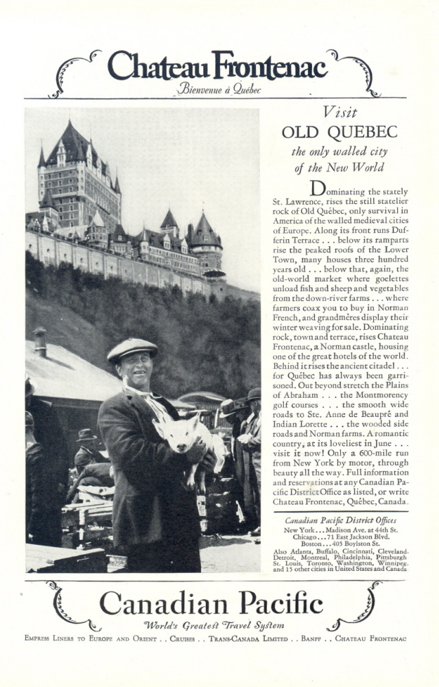 1928 Canadian Pacific travel Chateau Frontenac print ad