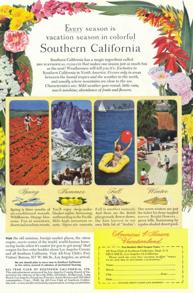 1949 Southern California 4 Seasons vacation print ad