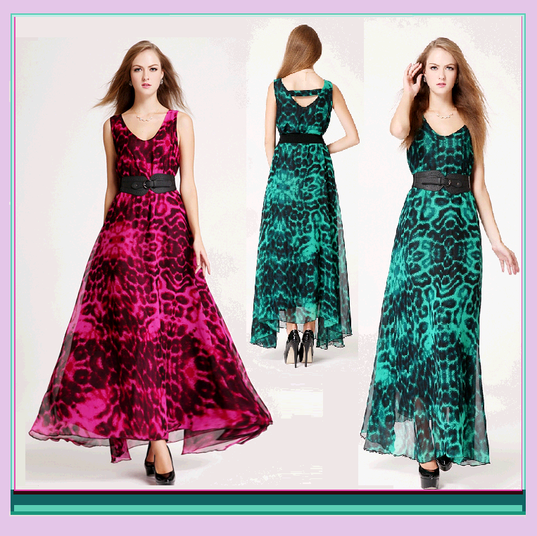 Sheer Layered Leopard Chiffon Prom Gown w/ V Neck, Belted Waist & Ankle Hemline - $56.95