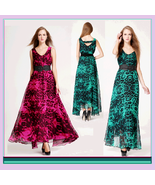 Sheer Layered Leopard Chiffon Prom Gown w/ V Neck, Belted Waist & Ankle ... - $56.95