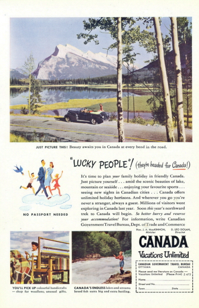 1947 Canada Travel & Vacation Lucky People print ad