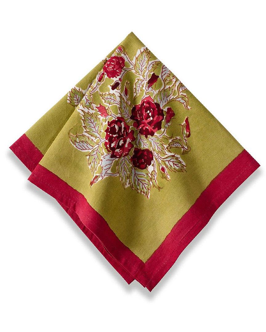 couleur nature rose red green napkin 19x19 set of 6 napkins. Black Bedroom Furniture Sets. Home Design Ideas
