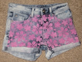 EUC Justice Premium Jeans Simply Low Flower Lace Shorts Size 12S 12 Slim - $12.19