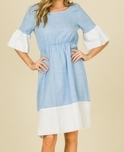 Chambray Linen Dress, Ruffle Sleeve Dress, Colorblock Ruffle Dress, Colo... - €53,67 EUR