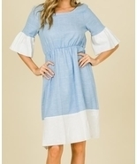 Chambray Linen Dress, Ruffle Sleeve Dress, Colorblock Ruffle Dress, Colo... - $58.99