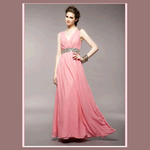Soft Layered Pink Chiffon Prom Gown w/ V Neck, Glass Bead Waist & Floor Hemline