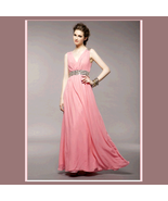 Soft Layered Pink Chiffon Prom Gown w/ V Neck, Glass Bead Waist & Floor ... - $89.95
