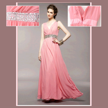 Soft Layered Pink Chiffon Prom Gown w/ V Neck, Glass Bead Waist & Floor Hemline image 2