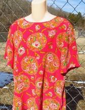 Dana Buchman Silk Fuchsia  Floral Blouse Top Size 12 image 2