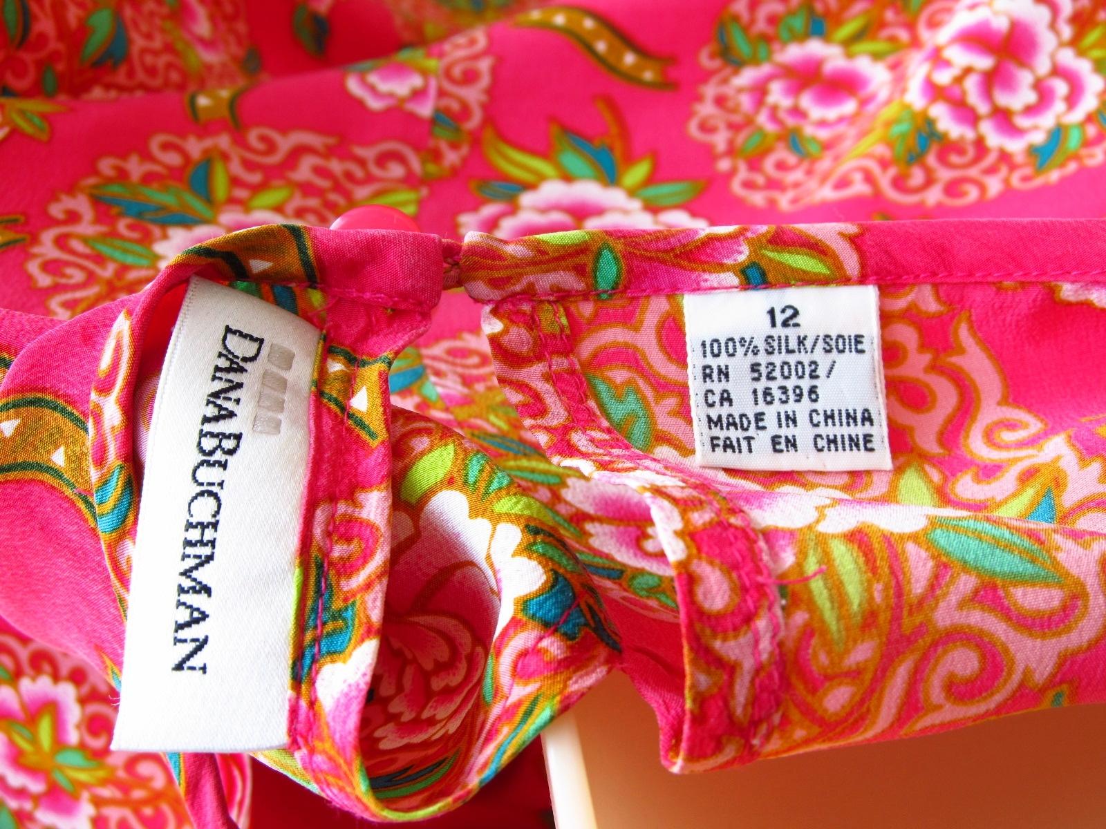 Dana Buchman Silk Fuchsia  Floral Blouse Top Size 12 image 3