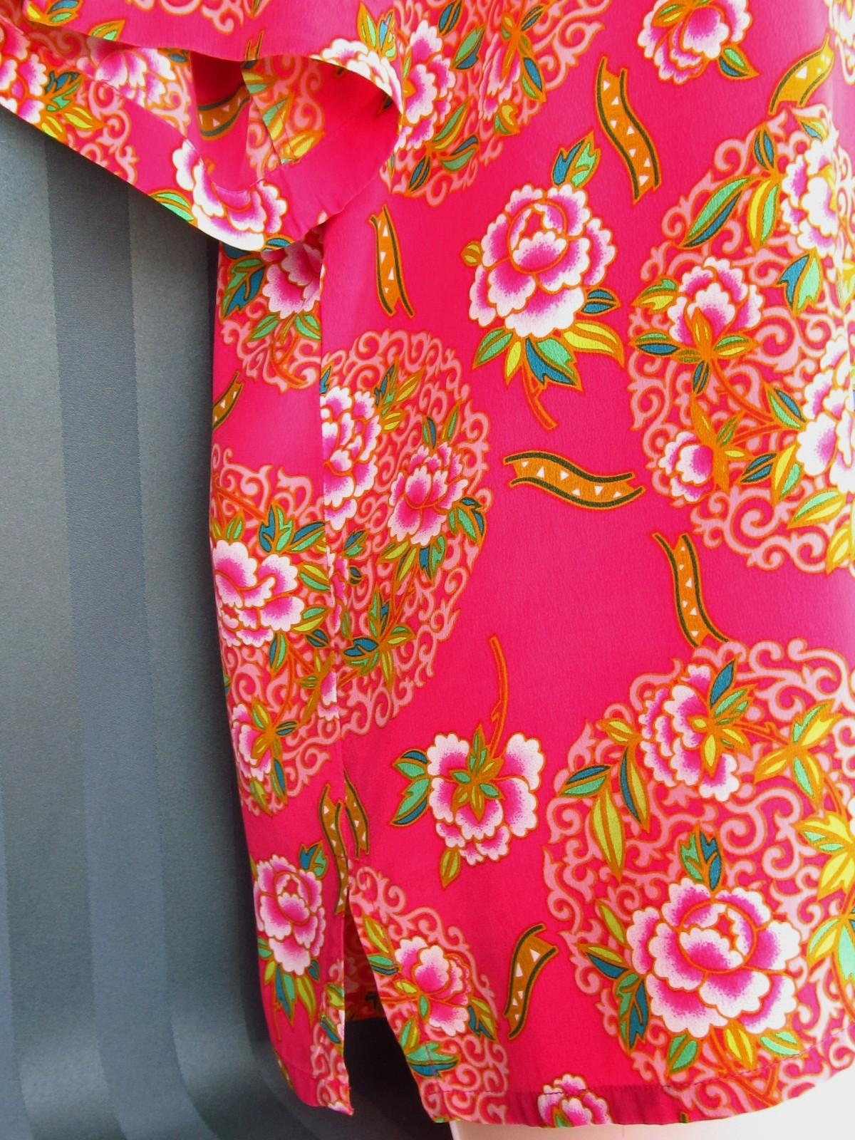 Dana Buchman Silk Fuchsia  Floral Blouse Top Size 12 image 5