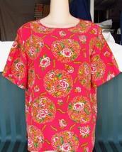 Dana Buchman Silk Fuchsia  Floral Blouse Top Size 12 image 6