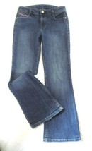 Girl's Size 10 Stretch Jeans Distressed Faded Glory Pink Trim Bootcut 5 pocket - $11.06