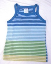 Girls Small 6/6X  Striped Tank Top  Faded Glory Blue Green Yellow Cotton Blend - $5.19