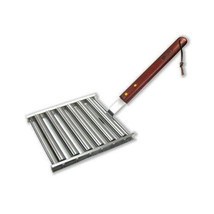 BBQ Grill Hot Dog Roller Wooden Handle Stainless Steel Chef Bratwursts S... - £22.15 GBP