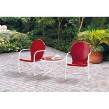 Retro Bistro Set 3pc Outdoor Patio FurnitureTable 2 Chairs Porch Red Dec... - $178.95
