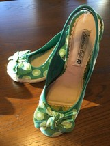 Women's American Eagle Spring Green Wedge Heel Shoes w/ Bows, Woven Soles Sz 9 - $29.02