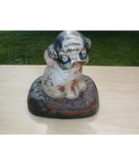 HUBLEY DRAYTON PUPPO CAST IRON PUP DOG BANK ON PILLOW - $265.00