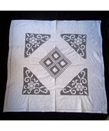Beautiful Antique Filet Lace whitework Tablecloth Topper - $24.50