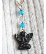 Judy Strobel Carved Black Obsidian Yoga Angel  Pendant Necklace - $19.95