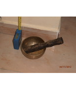 BRONZE,CUENCO TIBETANO. SINGING BOWL WITH WOODEN STICK,HIGH PITCH SOUND - $140.00