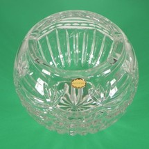 Glass Rose Bowl Vase Ribbon and Fan Pattern Made in Poland - $24.70