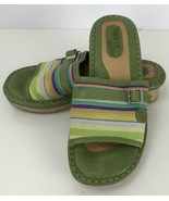 Born Drills Slip On Sandals Size 6Green Leather Multi Color Canvas Rope - $29.69