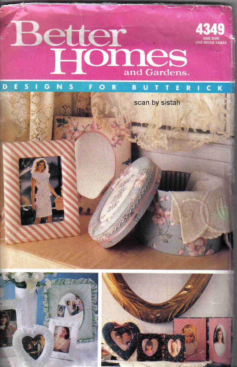 Butterick 4349 Better Homes Pattern Picture Frame fabric  oval heart gift craft