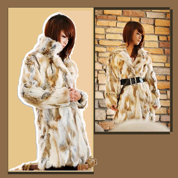 "Fantastic Russian Lynx Faux Fur Coat Mid Thigh Length - Feel like a ""ROCK STAR"""