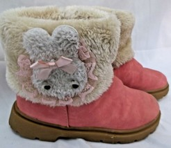 Toddler Winter Boot Fleece Lined Faux Leather Vintage Girl Pink Appx 11C... - £8.17 GBP