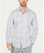 Tasso Elba Mens Dress Shirt Purple Size Small  Plaid-Print Button-Front ... - $16.78