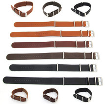 Leather NATO WATCH STRAP Band Army Military G10 One Piece 18mm 20mm 22mm... - $18.95
