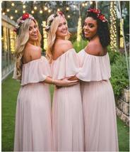 New Arrival Simple Light Pink Long Bridesmaid Dress A Line Maid Of Honor... - $88.99