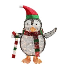 """34"""" Lighted Penguin with Candy Cane Christmas Yard Art Decoration - £59.69 GBP"""