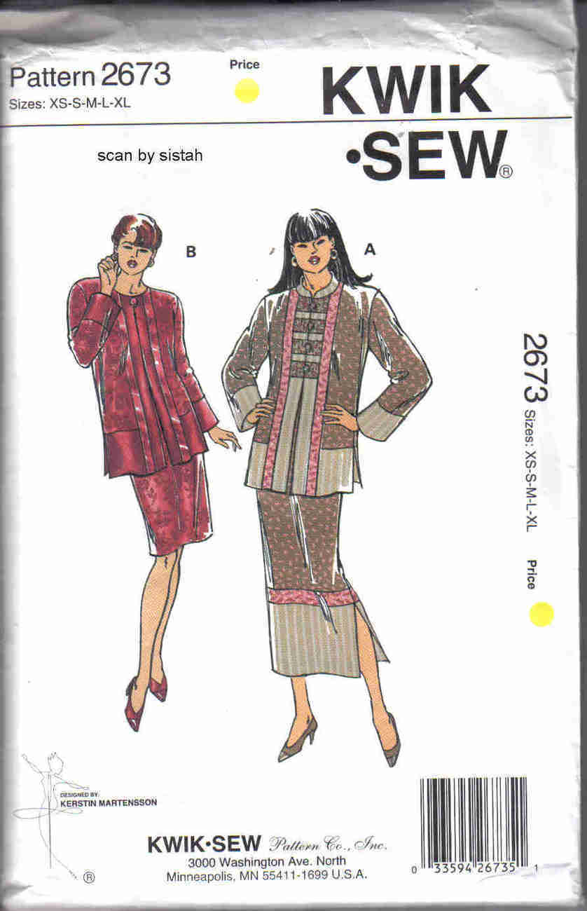 Kwik Sew 2673 Pattern XS S M L XL Jacket Skirt suit fabric piecing casual VP1