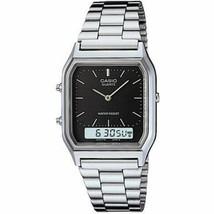 Casio AQ230A-1D Mens Steel Analog Digital Watch Dual Time Alarm NEW w/BOX - $26.95